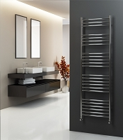 Eastgate Curved Polished 304 Stainless Steel Heated Towel Rail 1600mm High x 500mm Wide