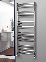 Eastgate Curved Polished 304 Stainless Steel Heated Towel Rail 1600mm High x 600mm Wide