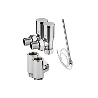Eastgate Dual Fuel Kit 1 - 1 x Pair Standard Chrome Angled Valves, 1 x Pair T Pieces, 1 x Standard Element