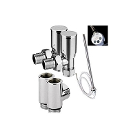 Eastgate Dual Fuel Kit 3 - 1 x Pair Standard Chrome Angled Valves, 1 x Pair T Pieces, 1 x Thermostatic Element