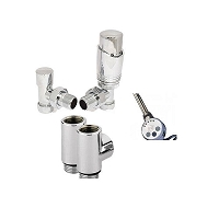 Eastgate Dual Fuel Kit 4 - 1 x Pair Thermostatic Chrome Angled Valves, 1 x Pair T Pieces, 1 x Thermostatic Element