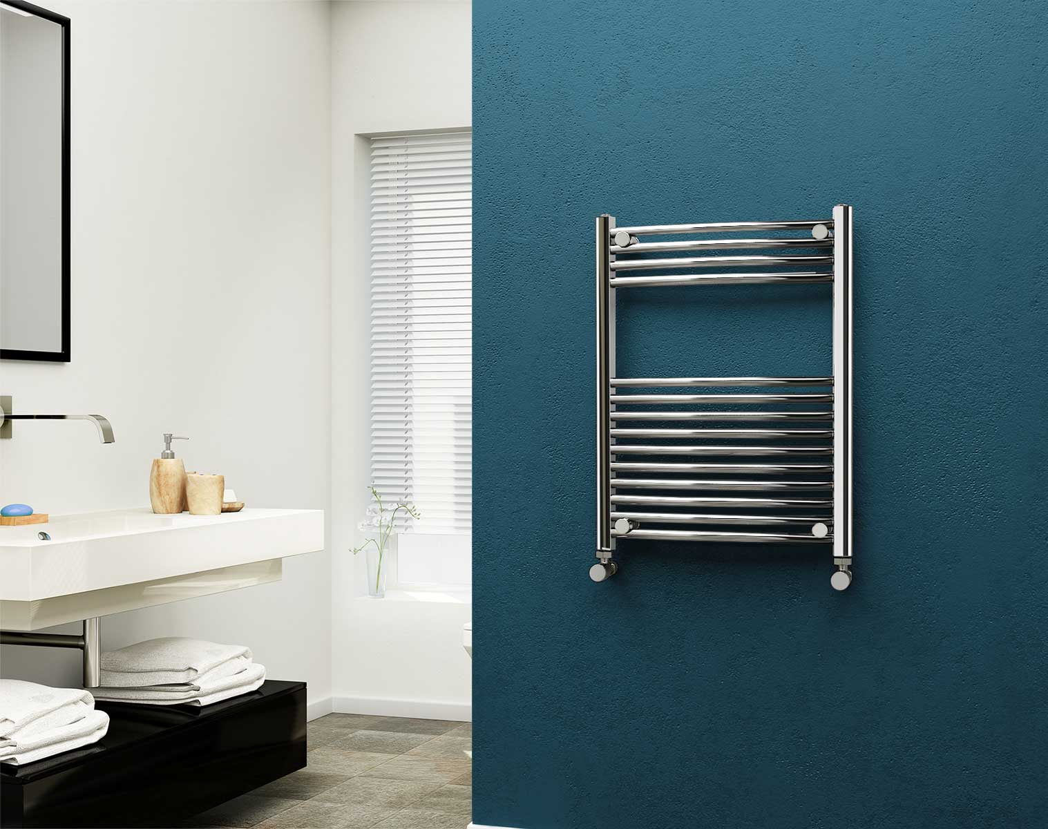 Brushed Chrome Bathroom Radiators: Eastgate Chrome Curved Heated Towel Rail 800mm High X