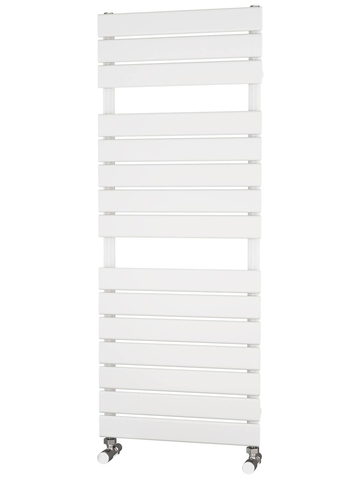 Liso Heated Towel Rails | White Flat Tube Designer 1290 x 500