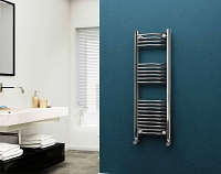Eastgate 22mm Steel Chrome Curved Heated Towel Rail 1200mm High x 400mm Wide Electric Only