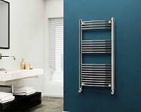 Eastgate 22mm Steel Chrome Curved Heated Towel Rail 1200mm High x 600mm Wide Electric Only