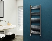 Eastgate 22mm Steel Chrome Curved Heated Towel Rail 1400mm High x 500mm Wide