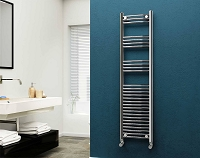 Eastgate 22mm Steel Chrome Curved Heated Towel Rail 1600mm High x 400mm Wide Electric Only