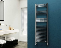 Eastgate 22mm Steel Chrome Curved Heated Towel Rail 1600mm High x 500mm Wide Electric Only