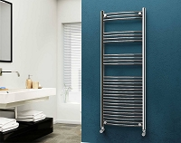 Eastgate 22mm Steel Chrome Curved Heated Towel Rail 1600mm High x 600mm Wide Electric Only