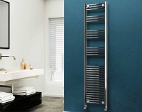 Eastgate 22mm Steel Chrome Curved Heated Towel Rail 1800mm High x 400mm Wide Electric Only