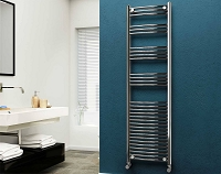 Eastgate 22mm Steel Chrome Curved Heated Towel Rail 1800mm High x 500mm Wide Electric Only