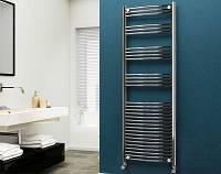 Eastgate 22mm Steel Chrome Curved Heated Towel Rail 1800mm High x 600mm Wide