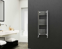 Eastgate 22mm Steel Chrome Straight Heated Towel Rail 1000mm High x 400mm Wide Electric Only