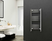 Eastgate 22mm Steel Chrome Straight Heated Towel Rail 1000mm High x 500mm Wide Electric Only