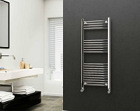 Eastgate 22mm Steel Chrome Straight Heated Towel Rail 1200mm High x 500mm Wide Electric Only