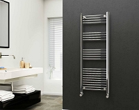 Eastgate 22mm Steel Chrome Straight Heated Towel Rail 1400mm High x 500mm Wide Electric Only