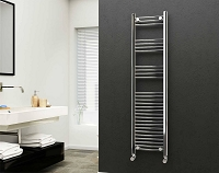 Eastgate 22mm Steel Chrome Straight Heated Towel Rail 1600mm High x 400mm Wide Electric Only
