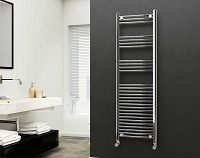 Eastgate 22mm Steel Chrome Straight Heated Towel Rail 1600mm High x 500mm Wide Electric Only