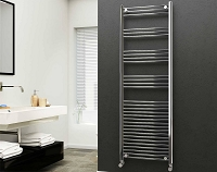 Eastgate 22mm Steel Chrome Straight Heated Towel Rail 1800mm High x 600mm Wide Electric Only
