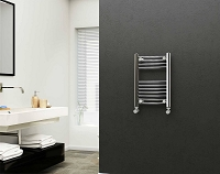 Eastgate 22mm Steel Chrome Straight Heated Towel Rail 600mm High x 400mm Wide Electric Only