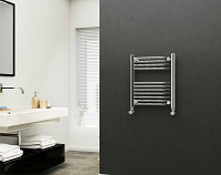 Eastgate 22mm Steel Chrome Straight Heated Towel Rail 600mm High x 500mm Wide Electric Only