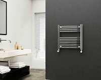Eastgate 22mm Steel Chrome Straight Heated Towel Rail 600mm High x 600mm Wide Electric Only