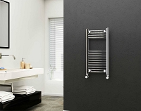 Eastgate 22mm Steel Chrome Straight Heated Towel Rail 800mm High x 400mm Wide Electric Only
