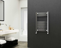 Eastgate 22mm Steel Chrome Straight Heated Towel Rail 800mm High x 500mm Wide