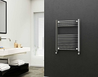 Eastgate 22mm Steel Chrome Straight Heated Towel Rail 800mm High x 600mm Wide Electric Only