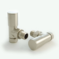 Eastgate Brushed Angled Round Top Radiator Valves (1 pair)