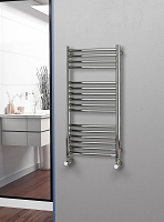 Eastgate Curved Polished 304 Stainless Steel Heated Towel Rail 1000mm High x 500mm Wide