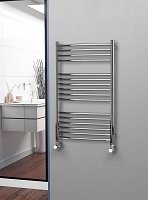 Eastgate Curved Polished 304 Stainless Steel Heated Towel Rail 1000mm High x 600mm Wide
