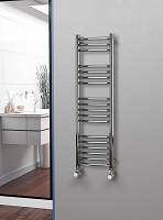 Eastgate Curved Polished 304 Stainless Steel Heated Towel Rail 1200mm High x 350mm Wide Electric Only