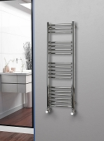 Eastgate Curved Polished 304 Stainless Steel Heated Towel Rail 1200mm High x 400mm Wide Electric Only
