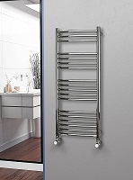 Eastgate Curved Polished 304 Stainless Steel Heated Towel Rail 1200mm High x 500mm Wide Electric Only