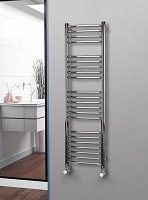 Eastgate Curved Polished 304 Stainless Steel Heated Towel Rail 1400mm High x 400mm Wide