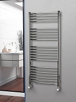 Eastgate Curved Polished 304 Stainless Steel Heated Towel Rail 1400mm High x 600mm Wide Electric Only