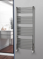Eastgate Curved Polished 304 Stainless Steel Heated Towel Rail 1400mm High x 600mm Wide