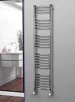 Eastgate Curved Polished 304 Stainless Steel Heated Towel Rail 1600mm High x 350mm Wide Electric Only