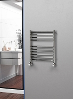 Eastgate Curved Polished 304 Stainless Steel Heated Towel Rail 600mm High x 500mm Wide