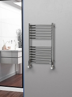 Eastgate Curved Polished 304 Stainless Steel Heated Towel Rail 800mm High x 500mm Wide Electric Only