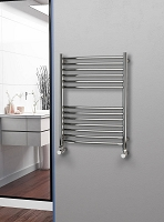 Eastgate Curved Polished 304 Stainless Steel Heated Towel Rail 800mm High x 600mm Wide Electric Only