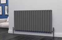 Eastgate Eben Anthracite Horizontal Double Panel Flat Tube Designer Radiator 600mm High x 1224mm Wide