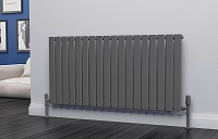 Eastgate Eben Anthracite Horizontal Single Panel Flat Tube Designer Radiator 600mm High x 1224mm Wide