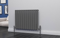 Eastgate Eben Anthracite Horizontal Single Panel Flat Tube Designer Radiator 600mm High x 816mm Wide