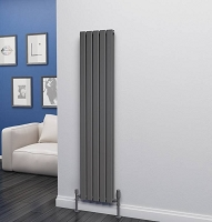 Eastgate Eben Anthracite Vertical Double Panel Flat Tube Designer Radiator 1600mm High x 340mm Wide