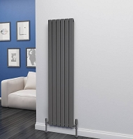 Eastgate Eben Anthracite Vertical Double Panel Flat Tube Designer Radiator 1600mm High x 408mm Wide