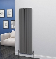 Eastgate Eben Anthracite Vertical Double Panel Flat Tube Designer Radiator 1600mm High x 476mm Wide