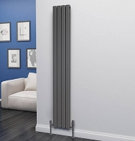 Eastgate Eben Anthracite Vertical Double Panel Flat Tube Designer Radiator 1800mm High x 272mm Wide