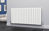 Eastgate Eben White Horizontal Double Panel Flat Tube Designer Radiator 600mm High x 1224mm Wide Electric Only